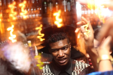 A partygoer at The Flat during a Cherry Bomb party in Brooklyn, NYC 02/07/14 ©Sumi Naidoo, 2014