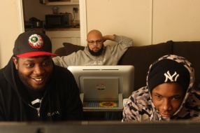 Rapper and Soundtrack Producer Dante Stevenson, who goes by $leezus and Soulebrity, plays Xbox with his friend, Sasha St John, while his roommate watches TV, in his apartment in Harlem, NYC, 02/28/2014 ©Sumi Naidoo, 2014